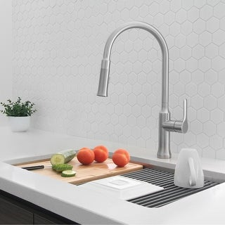 Link to Solid Stainless Steel Sink Kitchen Faucet, 1 Lever Handle Pull Down Spout Mixer Tap, Stainless Steel Finish Similar Items in Faucets