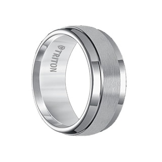 RONALD Raised Satin Finished Center Black Tungsten Carbide Ring with Polished Finish Step Edges by Triton Rings - 9mm