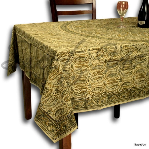Vegetable Dye Floral Block Print Tablecloth Cotton Green Rectangle Square Round Linen. Opens flyout.