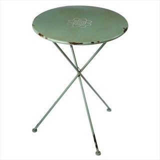 "29.5"" Distressed Finish Sage Green Flower Side Table"