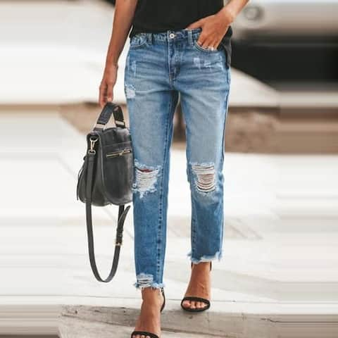 Women's High-Rise Ripped Ankle Jeans