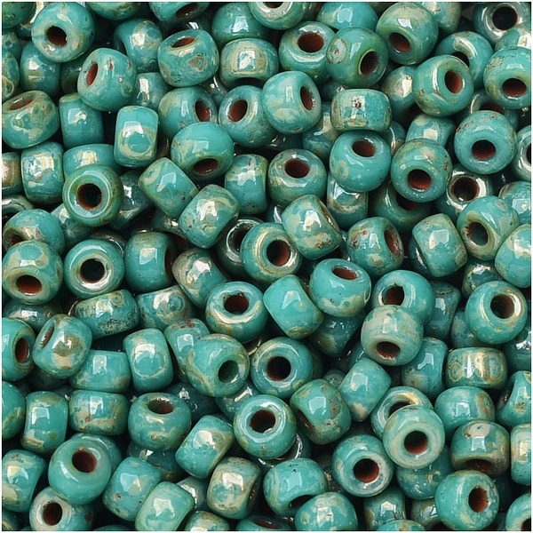 Czech Glass Matubo, 8/0 Seed Bead, 8 Gram Tube, Turquoise Green Picasso