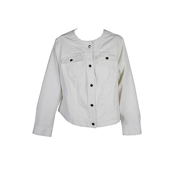 9cf42b02046 Shop Lauren Ralph Lauren Plus Size White Collarless Denim Jacket X ...