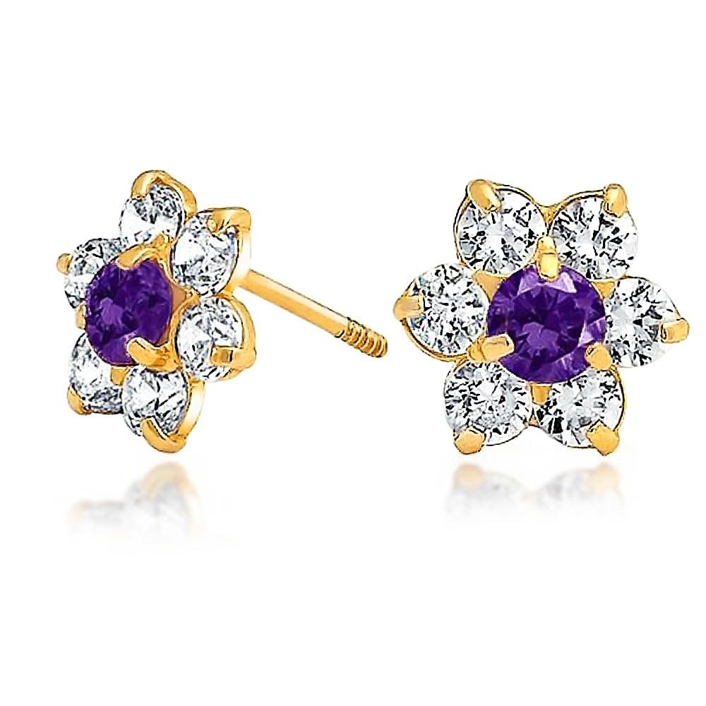 14K Yellow Gold Birthstone Flower Stud Earrings for Baby and Children Screw Back