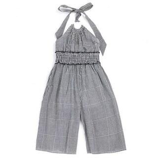 Lele For Kids Little Girls Black Checker Print Halter Strap Jumpsuit