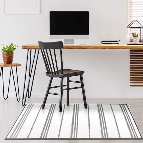 My Magic Carpet Machine Washable Area Rug Stripe Grey And White
