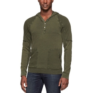 Calvin Klein Jeans Terry Cloth Hooded Sweatshirt Duffel Green Medium M