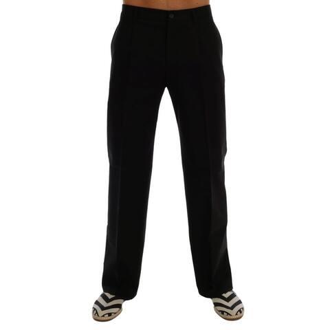 Dolce & Gabbana Black Cotton Stretch Dress Pants