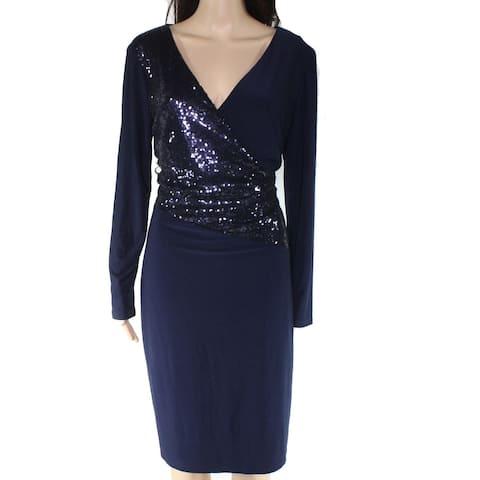 Lauren By Ralph Lauren Women's Dress Blue Size 8 Sequin Faux Wrap