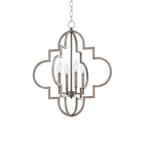 """Park Harbor PHPL5654 Aldrich 22"""" Wide 4 Light Foyer Pendant with - Gilded Silver"""