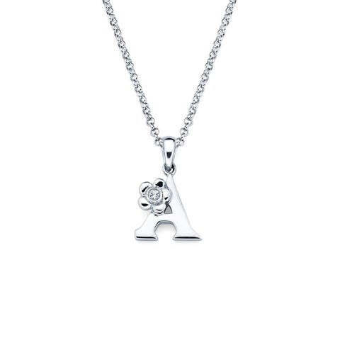 """.925 Sterling Silver Diamond Accent Classic Initial Letter Pendant Necklace, 16"""" Rolo Chain Lobster Claw Clasp"""