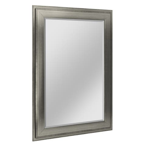 Head West 31.5 x 43.5 Silver Two-Step Beveled Mirror - 31.5 x 43.5