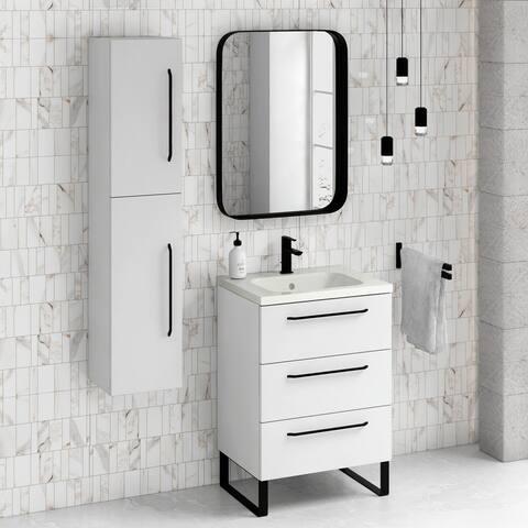 "24"" Bathroom Vanity Cabinet + Ceramic Sink Set Denver W 24 X H 35 X D 18 in Rhd White Oak"