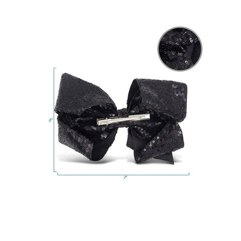 Zoo Beast Signature Collection Giant Sparkly Black Sequin Hair Bow on Aligator Clip