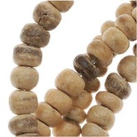 Tan And Brown Wood Coconut Shell Rondelle Beads - 3.7mm Diameter - 15.5 Inch Strand
