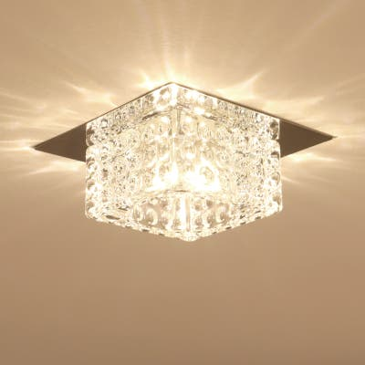 3W/5W 4in Square Flush Mount Crystal Ceiling Light