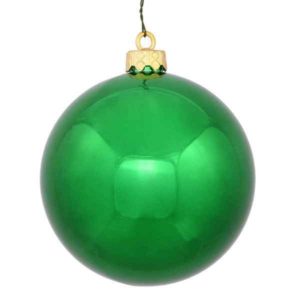 "Shiny Green UV Resistant Commercial Shatterproof Christmas Ball Ornament 4"" (100mm)"