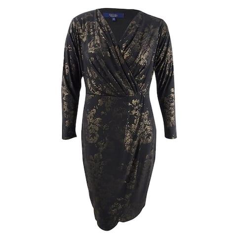 Rachel Rachel Roy Women's Plus Size Foil Print Wrap Dress - Black/Gold
