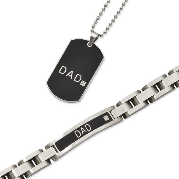 Stainless Steel Black-plated 8.75in Dad Bracelet & 24in Dad Necklace Set