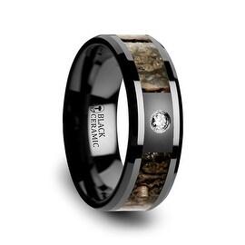 Brown Dinosaur Bone Inlaid Black Ceramic Diamond Wedding Band with Beveled Edges 8mm