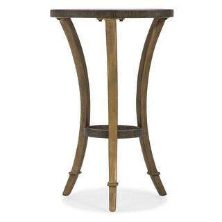 "Hooker Furniture 6080-50001  16"" Diameter Glass Top Cast Iron Side Table - Antique Gold"