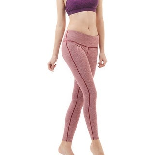 Tesla FYP41 Women's Mid-Waist Ultra-Stretch Yoga Pants - Space Dye Red