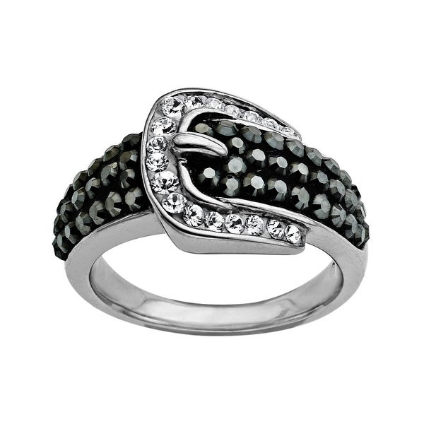 Crystaluxe Buckle Ring with Black and White Swarovski Elements Crystals in Sterling Silver
