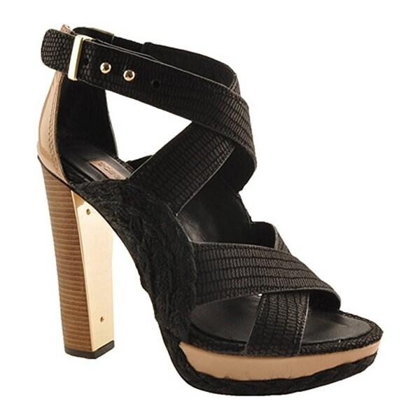 BCBGMAXAZRIA BCBG Max Azria Fritz Women Open Toe Canvas Black Platform Heel - 10
