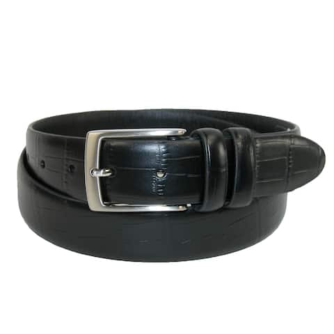 Aquarius Men's Big & Tall Croc Print Leather Dress Belt