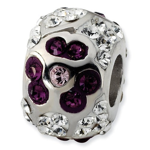 Sterling Silver Reflections White & Purple Crystal Flower Bead