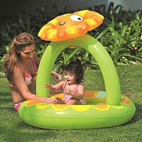 """39"""" Inflatable Baby Pool with Adjustable Sunflower Sun Shade"""