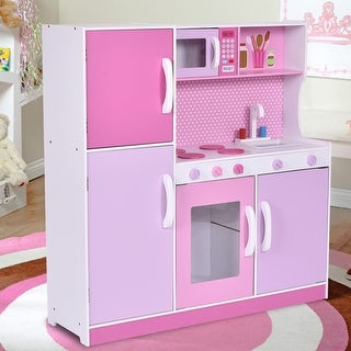 Costway Kids Wood Kitchen Toy Cooking Pretend Play Set Toddler Wooden Playset Gift