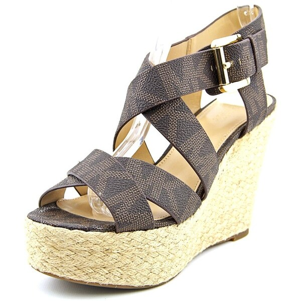 Michael Michael Kors Celia Mid Wedge Women Open Toe Synthetic Brown Wedge Sandal