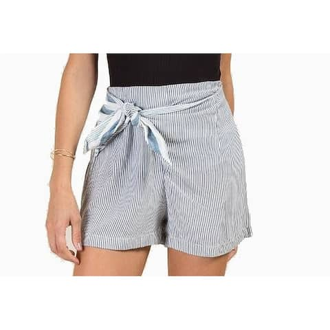 Angie Blue White Womens Size Large L Belted Pinstriped Shorts