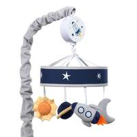Lambs & Ivy Milky Way Blue/Gray Celestial Space with Rocket and Planets Musical Baby Crib Mobile