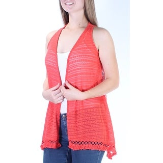 BELLE DU JOUR Womens New 6123 Coral Eyelet Sheer W/o Cami Sweater M B+B