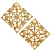 Vintaj Vogue Embellishments, Filigree Moroccan Tile 20x20mm, 2 Pieces, Raw Brass