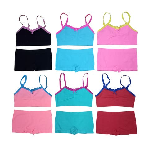 Girl's 6 Pack Seamless Solid Color Lace Trim Underwear Set
