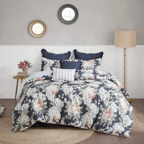 Madison Park Kalina Dark Blue 8 Piece Cotton Printed Reversible Comforter Set
