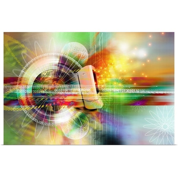 """""""Computer and globe with binary number (Digitally Generated)"""" Poster Print"""