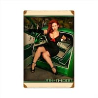 Past Time Signs INK016 Green Car Pinup Automotive Vintage Metal Sign