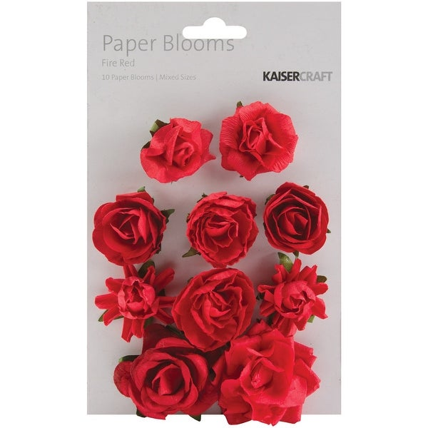 "Paper Blooms 1"" - 1.5"" 10/Pkg-Fire Red"