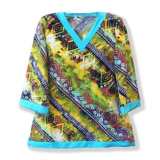 Azul Little Girls Yellow Blue Abstract Print Native Threads Kaftan