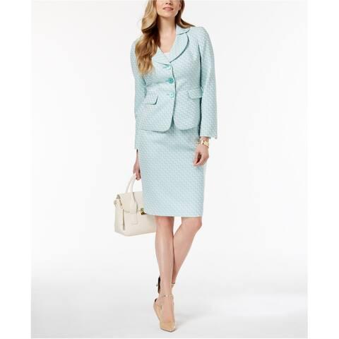 Le Suit Womens Petal Collar Skirt Suit, Blue, 14