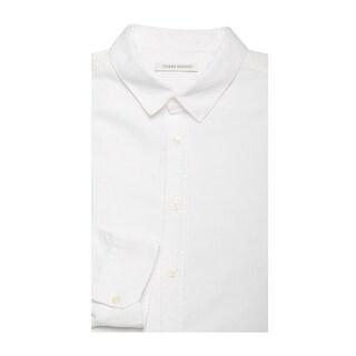 Pierre Balmain Men's Modern Collar Cotton Dress Shirt White