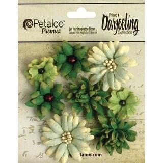 """Green - Darjeeling Teastained Mini Mix Flowers .75"""" To 1.5"""" 8/Pkg"""