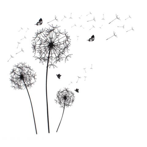 Unique Bargains Dandelion Butterfly Pattern Self-adhesive Removable Wall Sticker Paper Ornament