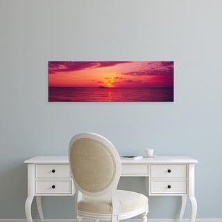 Easy Art Prints Panoramic Images's 'Sunset over the, Atlantic ocean, Cat Island, Bahamas' Premium Canvas Art