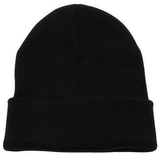 Skull Cuffed Beanie Ski Toboggan Plain Knit Hat Cap - Black