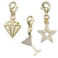 Julieta Jewelry Martini Glass, Diamond CZ, Star Outline CZ 14k Gold Over Sterling Silver Clip-On Charm Set